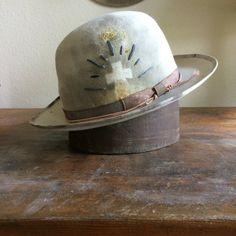 Bowler hat, one of a kind hat, custom fedora, white hat, hand made hat Classic Hats, Bowler Hat, Custom Hats, Cool Hats, Felt Hat, Hat Making, Hats For Men, Women Hats, Mens Fashion