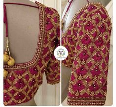 Stunning Aari Work Blouse Designs 2020 For Silk Sarees! Wedding Saree Blouse Designs, Fancy Blouse Designs, Lehenga Designs, Saree Wedding, Royal Blue Blouse, Aari Work Blouse, Types Of Embroidery, Hand Embroidery, Saree Dress