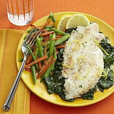 Lemon-Garlic Broiled Flounder with Spinach | MyRecipes.com