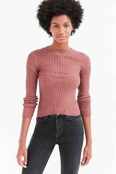 Silence + Noise Speckle Patterned Rib Pullover Sweater - Urban Outfitters