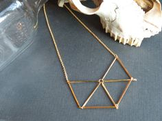 Geometric Gold Necklace // Chevron Triangle // Sacred geometry by BlackDahliaAtelier