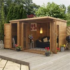 Just cool. Contemporary Summerhouse with Side Shed (LH)