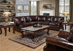 Warrick Leather 4 Pc Sectional Living Room. Can Also Be Purchased As A  Separate Sofa And Loveseat.