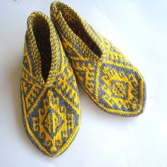 knit slippers mustard and grey Turkish Knitted by AnatoliaDreams, $27.50