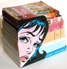 Original painting on stacked vintage books ~ Most clever ~ Graphic Decoration