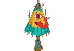 Kasa-Obake #halloween #demon #night #party #joke #shop #apparel #clothing #ghost #tongue #eye #fire #soul #umbrella #japanese