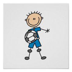 Boy Blue Uniform Stick Figure Soccer Player Gifts Posters