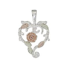 : Black Hills Gold Sterling Silver Dakota Rose Heart Pendant: Jewelry......................d