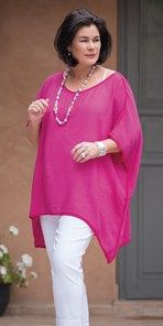 Plus size Join Clothes fuchsia loose crinkle top