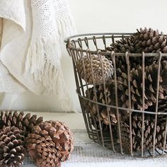 Going to be adding lots of Christmasy items to my Etsy shop in the next couple of weeks.this egg basket and pine cones are already listed in the shop! Wire Basket Decor, Wire Egg Basket, Basket Decoration, Wire Baskets, Outdoor Christmas Decorations, Rustic Christmas, Christmas Ideas, Seasonal Decor, Fall Decor