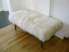 The Brick House - DIY sheep skin bench
