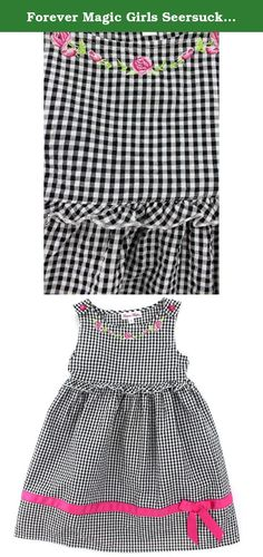 Forever Magic Girls Seersucker Gingham Dress (4, Black/Magenta Solid). Your little sweetheart will be looking lovely in one of these Forever Magic dresses. Each of these darling Forever Magic girls and toddler girls dresses feature unique details and style, like Gingham plaid, Seersucker fabric, flowers, embroidery and more! Dresses have tank top styled sleeves, grosgrain ribbon near the hem, and a back with a tie for the perfect fit every time. The perfect dress for any pretty young lady...
