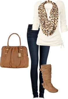 Leopard scarf with white top and blue jeans  with brown boots and a brown bag.