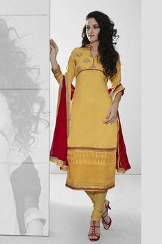 Yellow Cotton Designer Dress Material