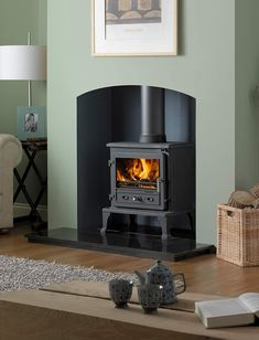 Buy Multi Fuel and Wood Burning Stoves Online Log Burner Fireplace, Wood Burner, Fireplace Mantle, Living Room Green, Living Room Decor, Living Rooms, Sage Green House, Exposed Brick Fireplaces, Stoves For Sale