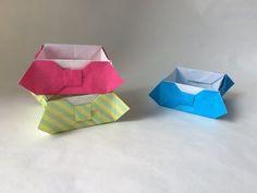 折り紙 リボンの箱 Origami Bowtie Box - YouTube