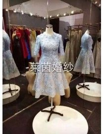Gorgeous illusion light ice serenity blue long sleeves floral lace appliques pearls sequins beaded tea length prom dress LW-270