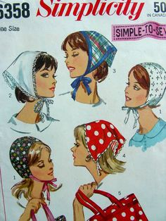 Vintage Sewing Pattern  Simplicity 6358  Hats Scarf by anne8865, $19.00
