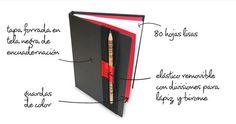 Cuadernos Bola 8  Tamaño A5, 80 hojas, cosido y encuadernado a mano, tiene elastico de cierre con lugar para dos lapiceras. Varios colores