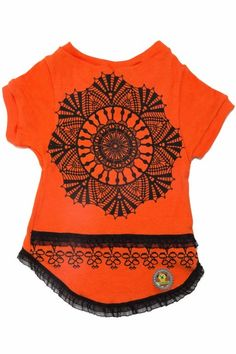 Blusa Mandala laranja com renda