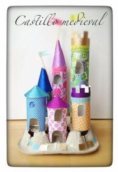 DIY castillo medieval using toilet paper rolls and egg cartons Paper Towel Roll Crafts, Toilet Paper Roll Crafts, Cardboard Crafts, Cardboard Tubes, Cardboard Furniture, Cardboard Castle, Paper Towel Rolls, Diy Paper, Craft Activities For Kids