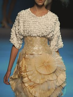 An abundance of texture - dress with mixed patterns and fabric texture detail; inspiring fabric manipulation for fashion // Christian Dior