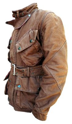 """Mulholland Master BROWN motorcycle riders jacket. Barbour/Belstaff/ISDT style. An original MFSC, inspired by our vintage influences.   FABRIC: Originally developed for the US Navy and officially called """"Jungle Cloth"""". A sturdy 100% cotton 'gros grain' type cloth, tightly woven for wind proofing and with water repellent qualities. It can be individually waxed with adequate wax dressing, to add to the water proofing quality.:"""