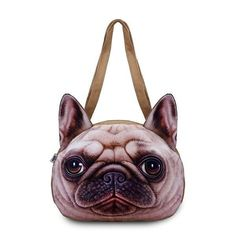 Women Cute Dog Head Shoulder Bags Casual 3D Animal Print Handbags Shopping Bags. Description Material Polyester Color As the picute Weight 210g Length 35cm (13.78'') Height 25cm (9.84'') Width 6cm (2.36'') Handle Height 30cm (11.81'') Pattern Animal Print Inner Pocket Interlayer, Zipper Pocket Closure Zipper Package include: 1 * Handbag Product Show Pattern Show: 01 (Bull Dog),02 (Shar Pei),03 (Golden Retriever),04 (Husky) View Show Detail Inner Size Disclaimer : About Size:Size may be 2cm/1…