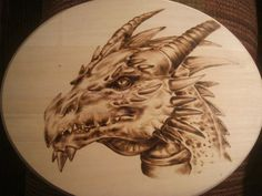dragon woodburning/pyrography by Greg Cook | ArtWanted.com