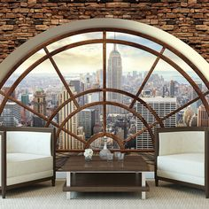 Non-woven photo wallpaper wallpaper brick window view city New York – Wall Paper 2020 3d Wallpaper, Photo Wallpaper, Empire State, Poster Xxl, Poster Mural, Window View, Outdoor Furniture, Outdoor Decor, Hanging Chair