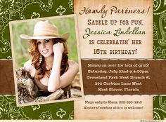 Grass Green & Brown Sweet 16 Country Birthday Invitations