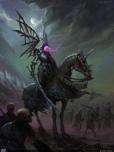 Art featuring medieval knights and their fantasy/sci-fi counterparts. Dark Fantasy Art, Fantasy Artwork, Fantasy World, Dark Art, Fantasy Creatures, Mythical Creatures, Phoenix Art, Ange Demon, The Darkness