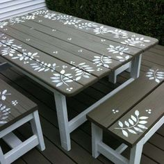 Renew an old picnic table with stencils and paint - Or we can start painting Steves kids picnic tables. Kids Picnic Table, Painted Benches, Picnic Table Paint, Furniture Projects, Furniture Makeover, Wood Projects, Diy Furniture, Furniture Design, Handmade Furniture