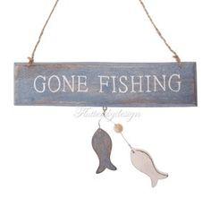 Gone Fishing Hanging Sign from Fluttersbydesign. £4.50