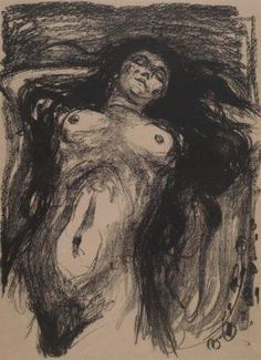 Artwork by Edvard Munch, Liggende Kvinne med Utslått Hår, Woman with Long Hair, Reclining, Made of Lithograph printed in black Painting Collage, Paintings, Charcoal Art, Edvard Munch, Collage Illustration, Famous Art, Vintage Artwork, Chiaroscuro, Life Drawing