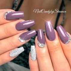 Dark Mauve Purple Nails With Tiny Rhinestones Bott. Dark Mauve Purple Nails With Tiny Rhinestones Bottom Design Elegant Nail Designs, Elegant Nails, Nail Art Designs, Nails Design, New Years Nail Designs, Nails Inc, Toe Nails, Coffin Nails, Mauve Nails