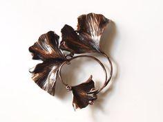 Hand forged Copper Ginkgo Leaf Brooch  http://www.etsy.com/shop/KSkilesJewelry?page=1&show_panel=true