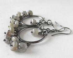 Labradorite Sterling Silver Earrings Oxidized by aroluna on Etsy, $64.00 #sterlingsilver #earrings