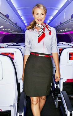 We all enjoy a woman or man in uniform. Some people wear uniforms because they are required for the job. Some people wear uniforms just for fun and also to get Virgin Atlantic, Air Hostess Uniform, Virgin America, Sensible Shoes, Men In Uniform, Cabin Crew, Flight Attendant, Beautiful People, High Waisted Skirt