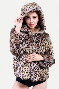 79b0754b8ce9 Vinfemass Plus Size Leopard Printed Hooded Faux Rabbit Fur Coat #vinfemass # coats #fauxfur