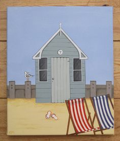 """""""seaside hut"""" canvas by edwina cooper designs 