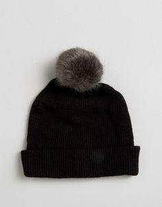 97b8f5603ee Image 2 of ASOS Fine Knit Faux Fur Pom Beanie Asos