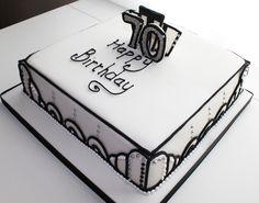 art deco style 70th birthday cake