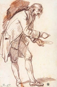Jean-Baptiste Greuze – Study for 'The Paralytic'. Figure of a Young Man with a Plate in his Hand, 1760, red chalk, 48,1x32 cm | Hermitage Museum, St. Petersburg