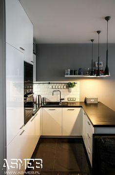 Kuchnia styl Skandynawski - zdjęcie od AS-MEB producent… na Stylowi. Home Decor Kitchen, Kitchen Interior, New Kitchen, Home Kitchens, Kitchen Cook, High Gloss White Kitchen, Industrial Kitchen Design, U Shaped Kitchen, Lofts
