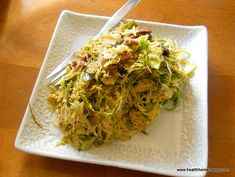 Brussel Sprouts/Bacon/Toasted Almond Slaw : made this tonight. Slaw Recipes, Veggie Recipes, Paleo Recipes, Real Food Recipes, Paleo Food, Brussels Sprouts Slaw Recipe, Brussel Sprout Slaw, Sprouts Salad, Paleo Side Dishes
