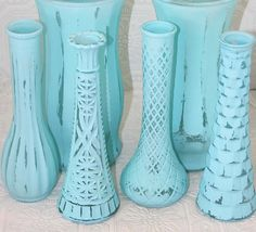 Tiffany Blue Shabby Chic Vintage Bud Vase Set Made to Order - Lovely. Comes in a set of 4 for $39.99. Would be great for a tiffany vlye wedding centerpiece. Her other creations are gorgeous too!