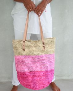 Pink Beach Bag Straw Bag Straw Beach Bag Summer Straw by MOOSSHOP