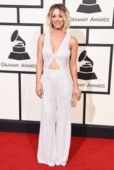 WHO: Kaley Cuoco  WHAT: Presenter  WEAR: Naeem Khan jumpsuit; H. Stern jewelry.