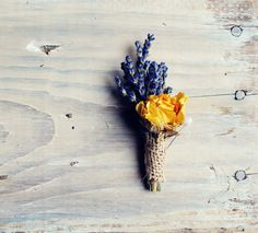 BERTRAND lavender yellow burlap boutonniere by TheSunflowerStand Burlap Boutonniere, Boutonnieres, Anniversary Plans, Moon Wedding, Dream Wedding, Square Wedding Cakes, Yellow Wedding, Groom And Groomsmen, Handmade Wedding